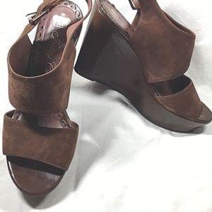 JUICY COUTURE 9M Brown Suede Platform Sandals